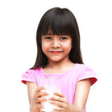 Little girl with a milk mustache Stock Photos