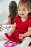 Little girl in Mirror Stock Photo
