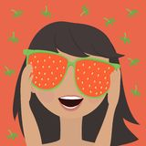 Little girl in mirrored sunglasses with a reflection of the strawberries. Funny little girl in adult mirrored sunglasses with the reflection of the strawberries Royalty Free Stock Image