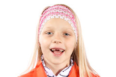 Little girl with missing front teeth Stock Photography