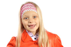 Little girl with missing front teeth Stock Image