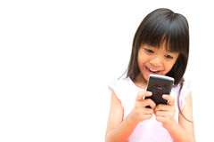 Little Girl with Mobile Phone Stock Image