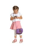 Little girl with mobile Royalty Free Stock Photography