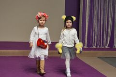 Little girl models at Kyiv Fashion 2014 Stock Images