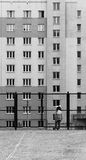 Little Girl and Modern Urban Apartments Royalty Free Stock Images