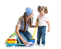 Little girl and mom cleaning room. Isolated Royalty Free Stock Photo