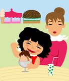 Little girl and mom eating ice cream Stock Photos