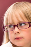 Little Girl in Mom's Pink Glasses Stock Photos