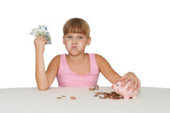 Little  girl with money  isolated Royalty Free Stock Photos