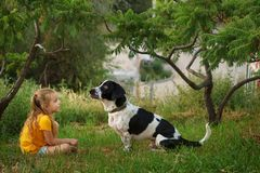 Little girl and mongrel dog outdoors royalty free stock images