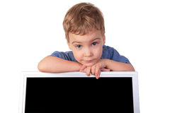 Little girl with monitor Stock Photo