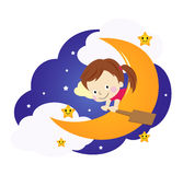Little girl on the moon Royalty Free Stock Photos