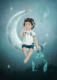 Little girl on the moon stock images