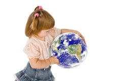 The little girl and mother Earth Royalty Free Stock Image