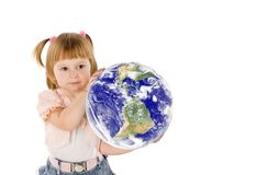 The little girl and mother Earth Royalty Free Stock Photography