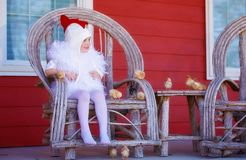 Little girl in mother hen costume with baby chicks. Cute little girl dressed in chicken costume sitting on a bent wood chair with baby chicks outdoors in front Stock Photo