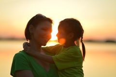 Little  girl with  mother near the sea Royalty Free Stock Photography