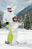 Little girl with mother on ski Royalty Free Stock Photography