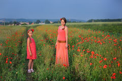 Little girl with mother walking on the poppy field royalty free stock image