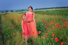 Little girl with mother walking on the poppy field stock images