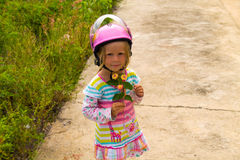 Little girl in a motorcycle helmet Royalty Free Stock Photo