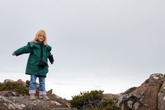 Little girl on mountain top Royalty Free Stock Photography