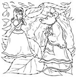 """Little girl and mouse. Black-and-white outline (for a coloring book) of an anxious little girl talking to a mouse (illustration of the fairy-tale """" vector illustration"""
