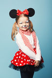Little girl with mouse mask. Little beautiful girl with mouse mask royalty free stock photos
