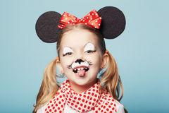 Little girl with mouse mask Royalty Free Stock Photography