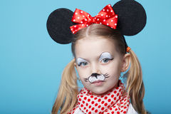 Little girl with mouse mask Stock Photo