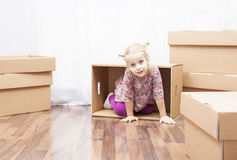 Little girl in move Stock Photography