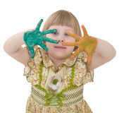 Little girl with multicolored palm Royalty Free Stock Photos