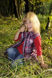 Little girl with mushrooms Stock Photo