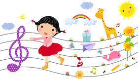 Little girl and music. Illustration of little girl and music Royalty Free Stock Images