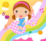 Little girl and music Royalty Free Stock Images