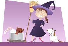 Little girl n witch costume playing to be a witch with broom dog and spells Stock Images