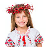 Little girl in the national Ukrainian costume. Cute happy little girl in the national Ukrainian costume isolated over white background stock photos