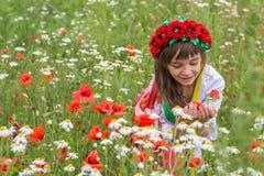Little girl in the national Ukrainian costume Royalty Free Stock Image