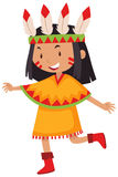 Little girl in native american indian costume Stock Photos