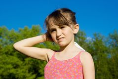 Little girl on the nature of Stock Images