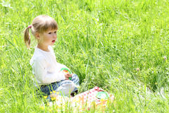 Little girl on nature Royalty Free Stock Photography