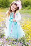 Little girl on the nature with butterfly net Stock Images
