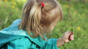 Little girl in nature stock video footage