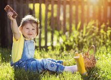 Little girl in nature Stock Images