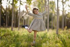Little girl in nature field wearing beautiful dress Royalty Free Stock Image