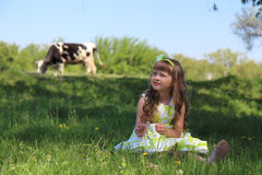 Little girl on nature. Stock Images