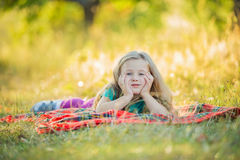 Little girl on the nature Royalty Free Stock Image