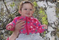 Little girl near birch Royalty Free Stock Photography