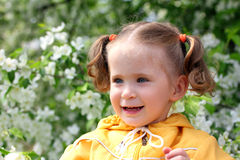Little girl near blossoming apple tree Royalty Free Stock Photography