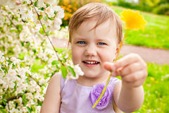Little girl near bush with flowers Stock Photography